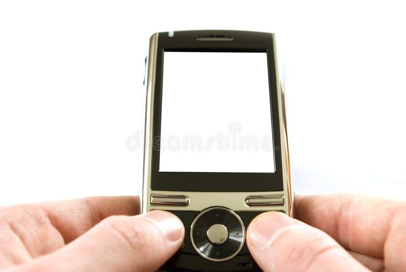 Handen met mobiel stock foto's