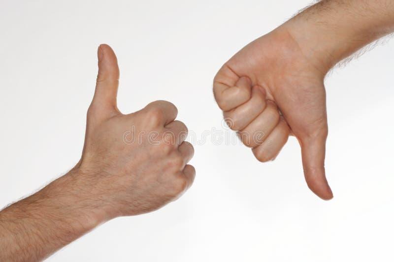 Handen met omhoog duimen stock afbeelding