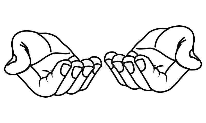 Handen met palmen open aanbiedend die beeldverhaal in zwart-wit wordt geïsoleerd royalty-vrije illustratie