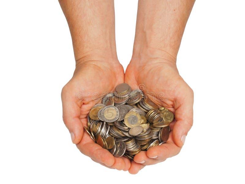 Handen met Pools geld stock afbeeldingen