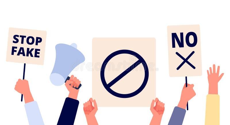 Handen met protestenaanplakbiljetten Mensen die politieke banners, activisten met de tekens van de stakingsmanifestatie houden Re vector illustratie