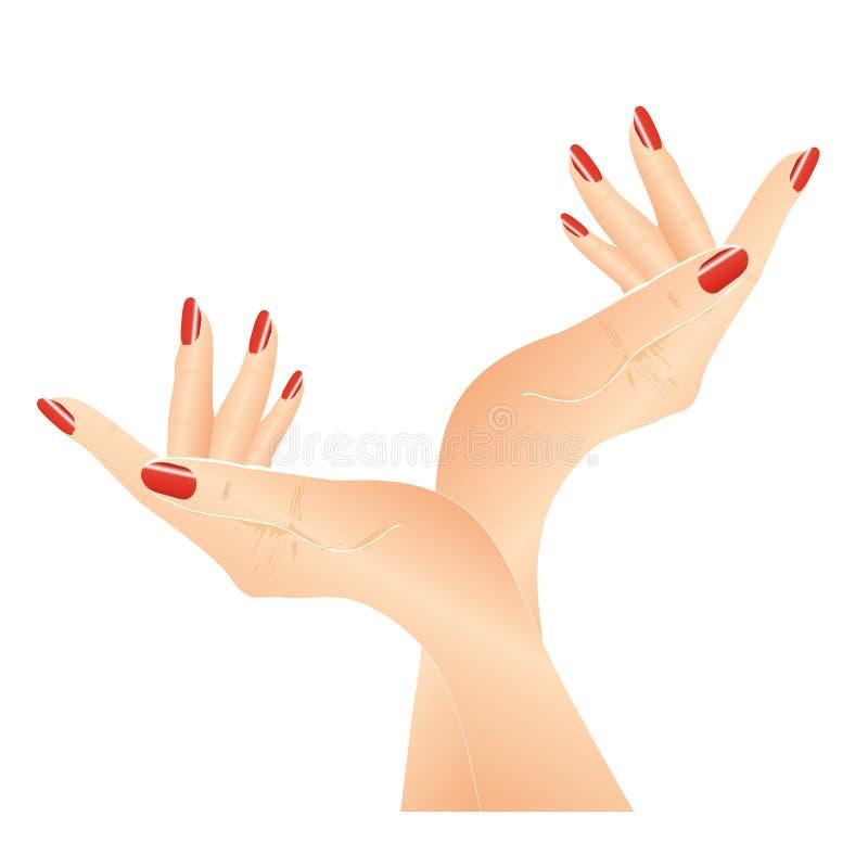 Handen met rode spijkers stock illustratie
