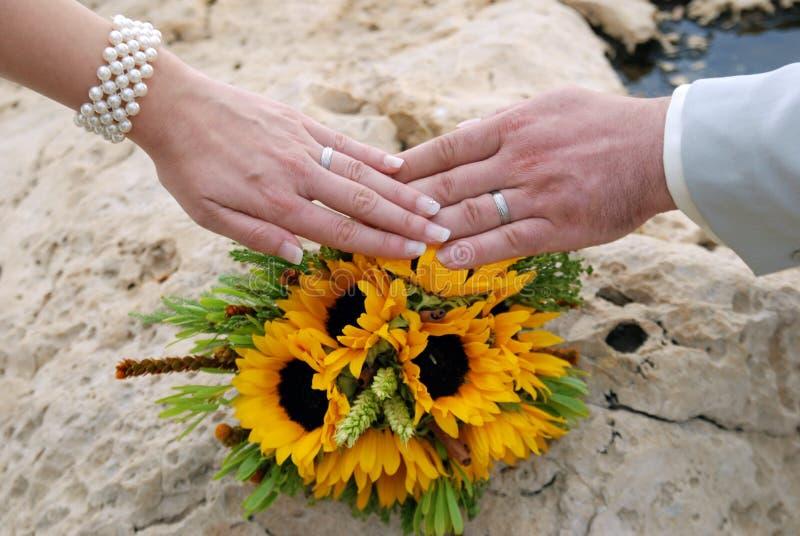 Handen met twee witgoudtrouwringen op zonnebloemboeket stock foto
