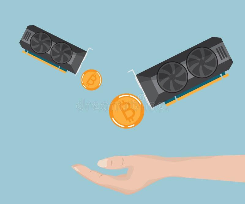 Handen mottar bitcoin, ethereum från skärmkort royaltyfri illustrationer