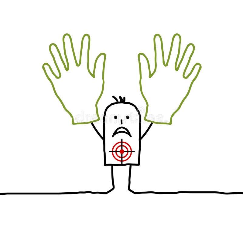 Handen omhoog! stock illustratie