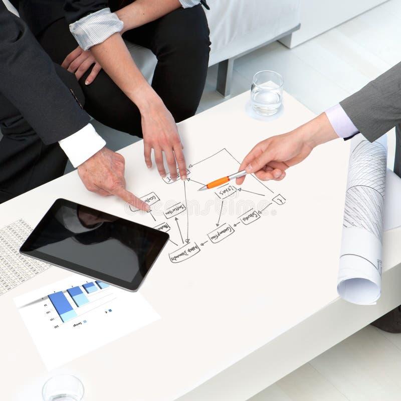 Handen op documenten op commerciële vergadering. royalty-vrije stock fotografie