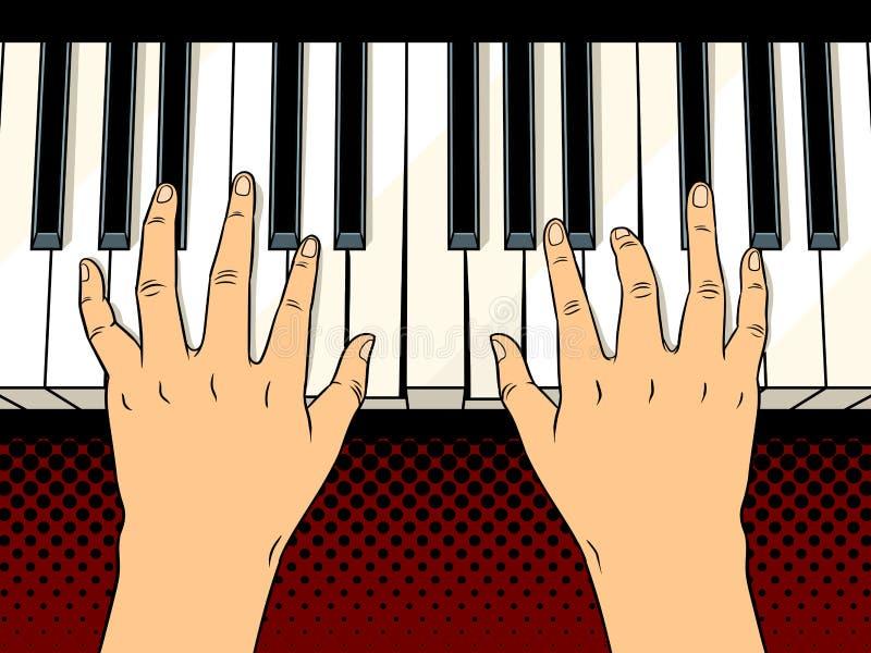 Handen op het pop-art vectorillustratie van pianosleutels royalty-vrije illustratie
