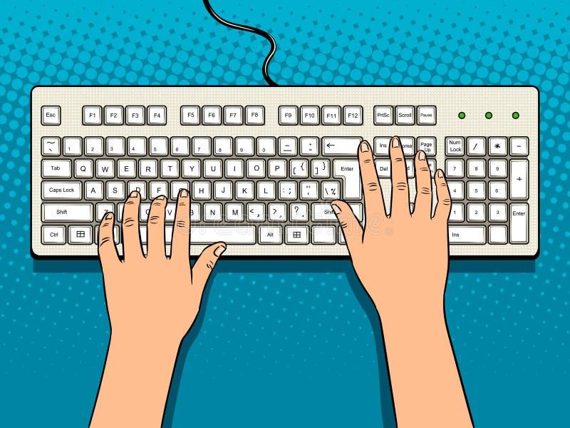 Handen op het pop-artvector van het computertoetsenbord royalty-vrije illustratie