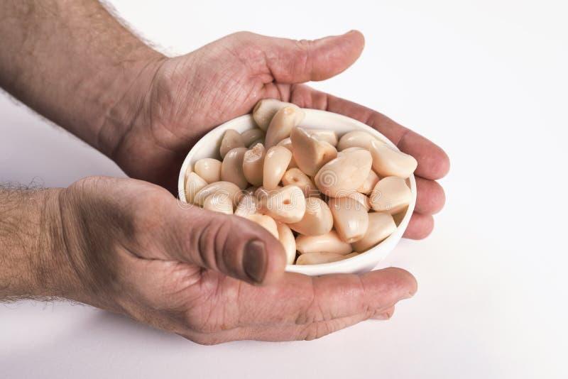 Handen op ingelegde garlics op witte achtergrond royalty-vrije stock foto's