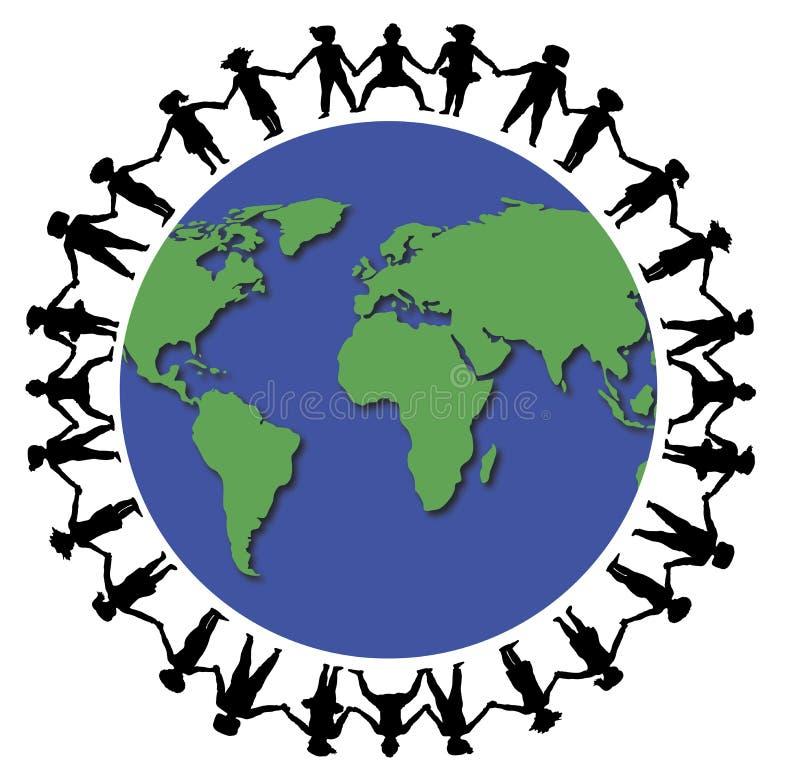Handen rond Wereld 1 royalty-vrije illustratie