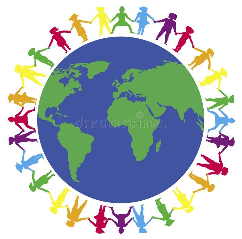 Handen rond Wereld 3 stock illustratie