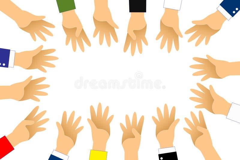 Handen runt om gruppen för röstar eller ställa upp som frivillig upp på vit bakgrund Grafisk hand upp vektor illustrationer