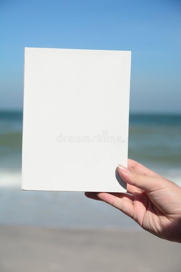Handen rymmer det vita arket på blå himmel arkivbild