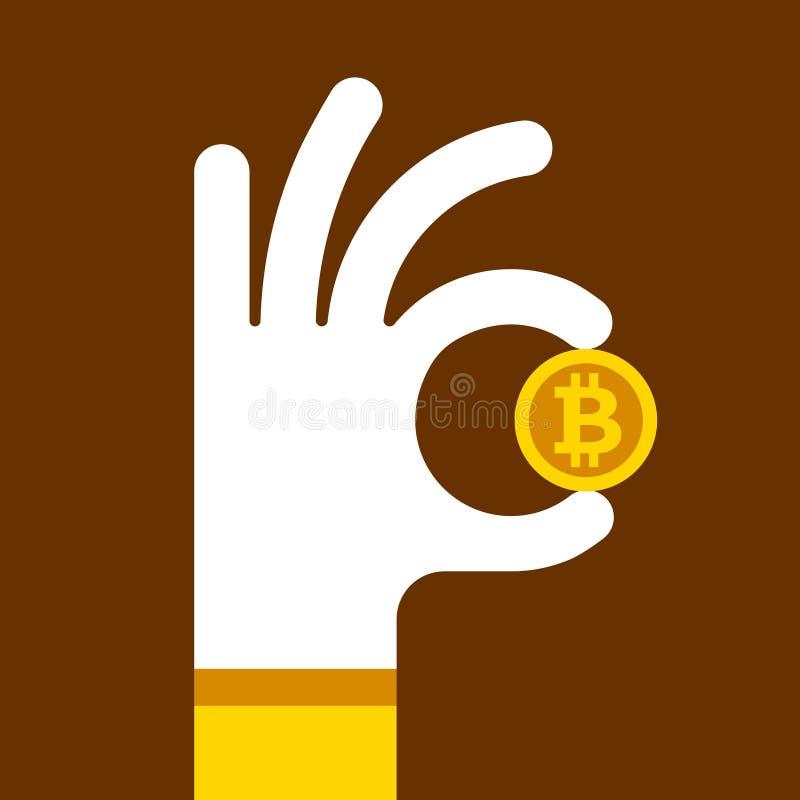 Handen rymmer en bitcoin för guld- mynt vektor illustrationer