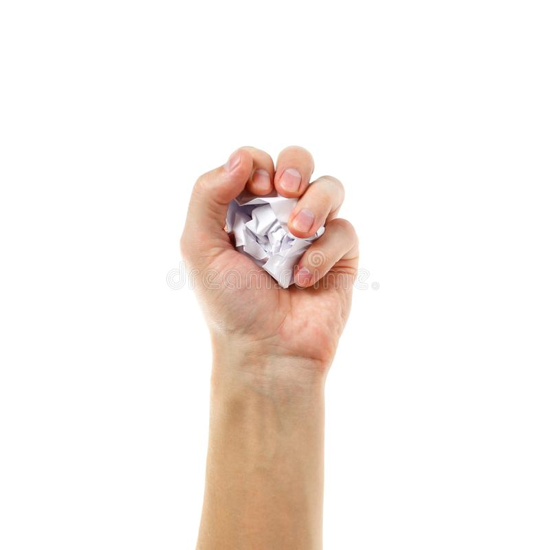 Handen rymmer en klumpa sig av vitbok Isolerat på den vita backgrouen royaltyfri foto