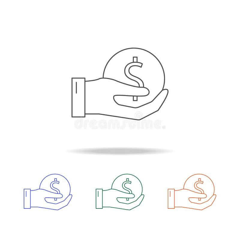 handen rymmer en myntsymbol Beståndsdelar av bankrörelsen i mång- kulöra symboler Högvärdig kvalitets- symbol för grafisk design  royaltyfri illustrationer