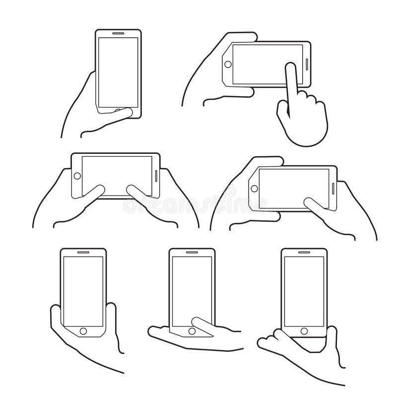 Handen rymmer en smart telefon i vertikal och horisontalposition vektor illustrationer