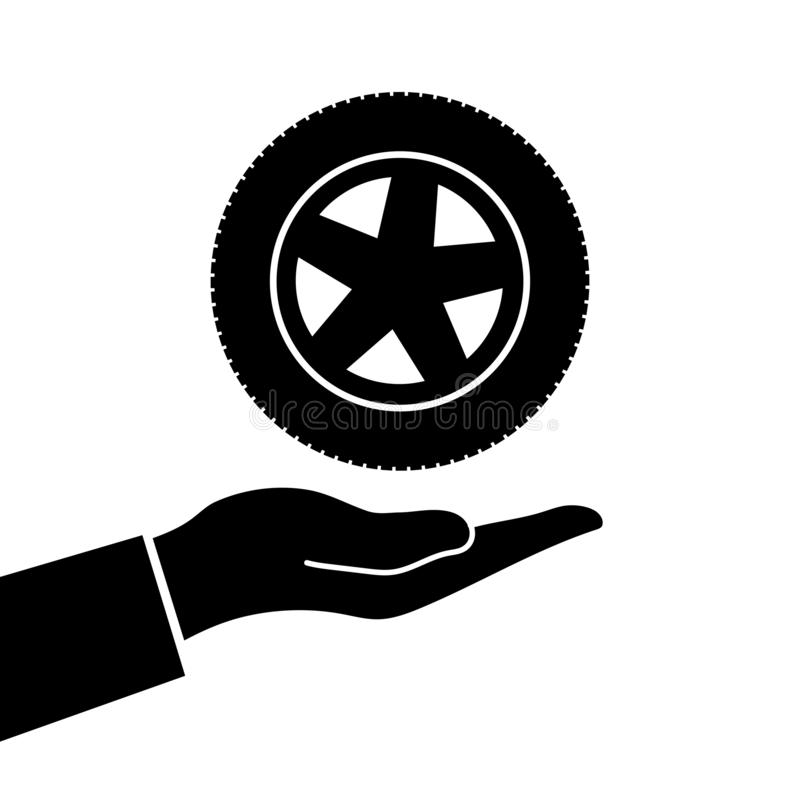 Handen rymmer hjulet stock illustrationer