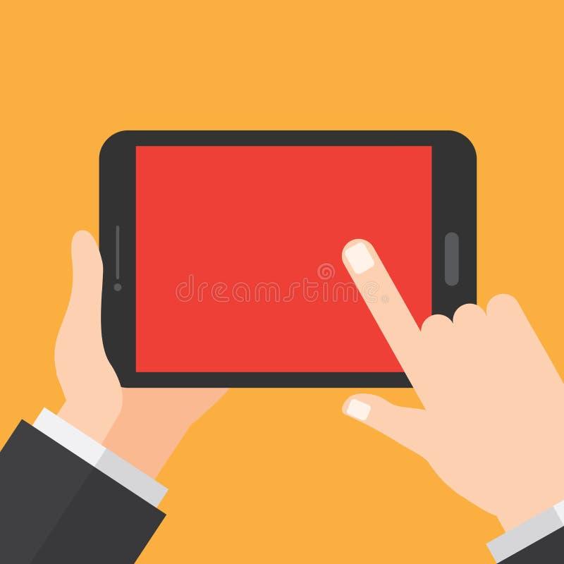 Handen rymmer minnestavlan Digital apparat Informationsteknikdesignbegrepp royaltyfri foto