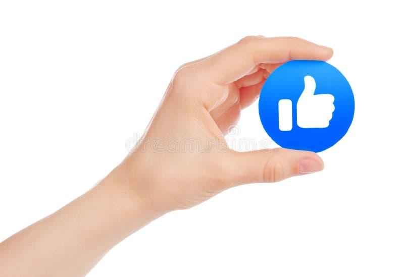 Handen rymmer nya Facebook som Empathetic Emoji reaktion royaltyfri illustrationer