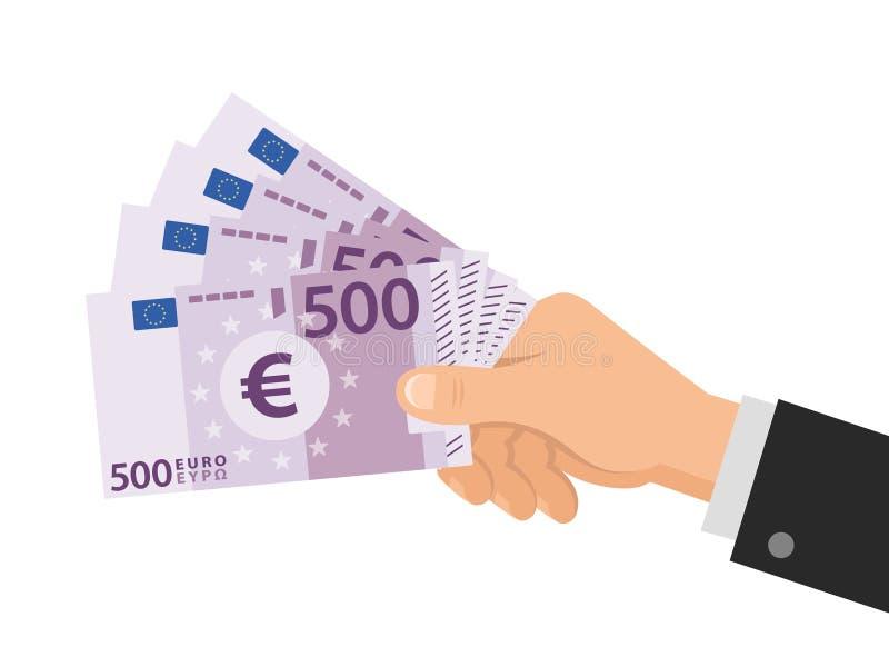 Handen rymmer pengareuro 500 sedlar äganderätt för home tangent för affärsidé som guld- ner skyen till bakgrund isolerad white Pl stock illustrationer