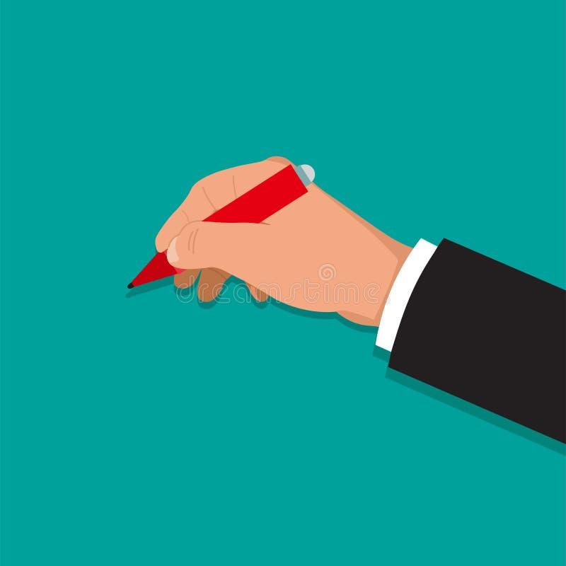 handen rymmer pennan vektor illustrationer