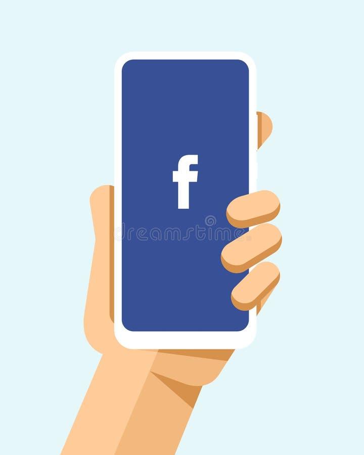 Handen rymmer smartphonen med den Facebook applikationen på skärmen För telefonmodell för plan vektor modern illustration royaltyfri illustrationer