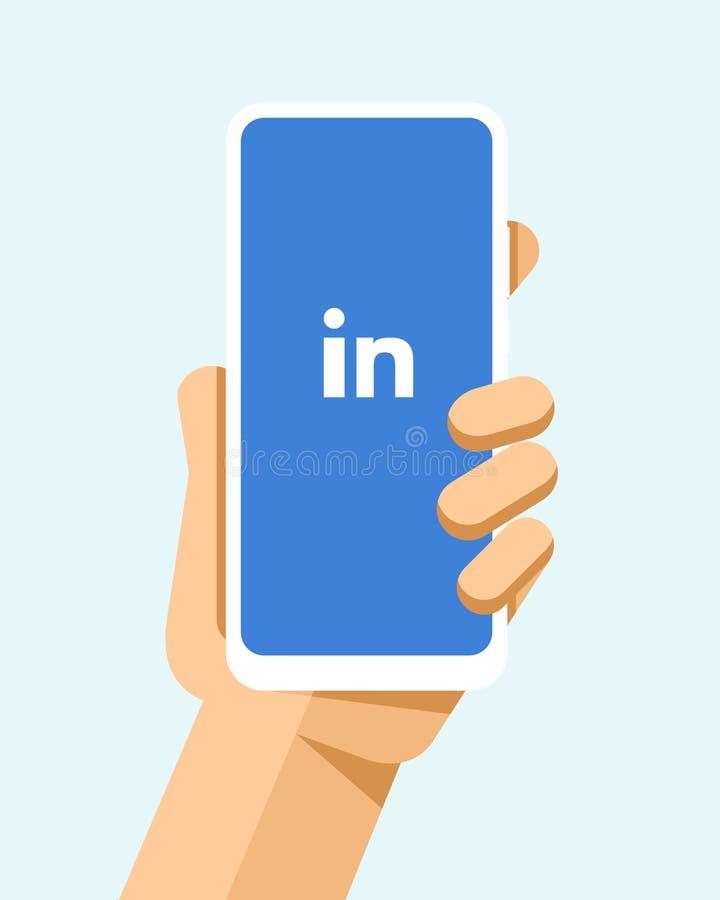 Handen rymmer smartphonen med den LinkedIn applikationen på skärmen För telefonmodell för plan vektor modern illustration stock illustrationer