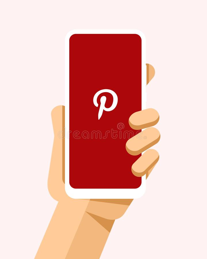Handen rymmer smartphonen med den Pinterest applikationen på skärmen För telefonmodell för plan vektor modern illustration stock illustrationer