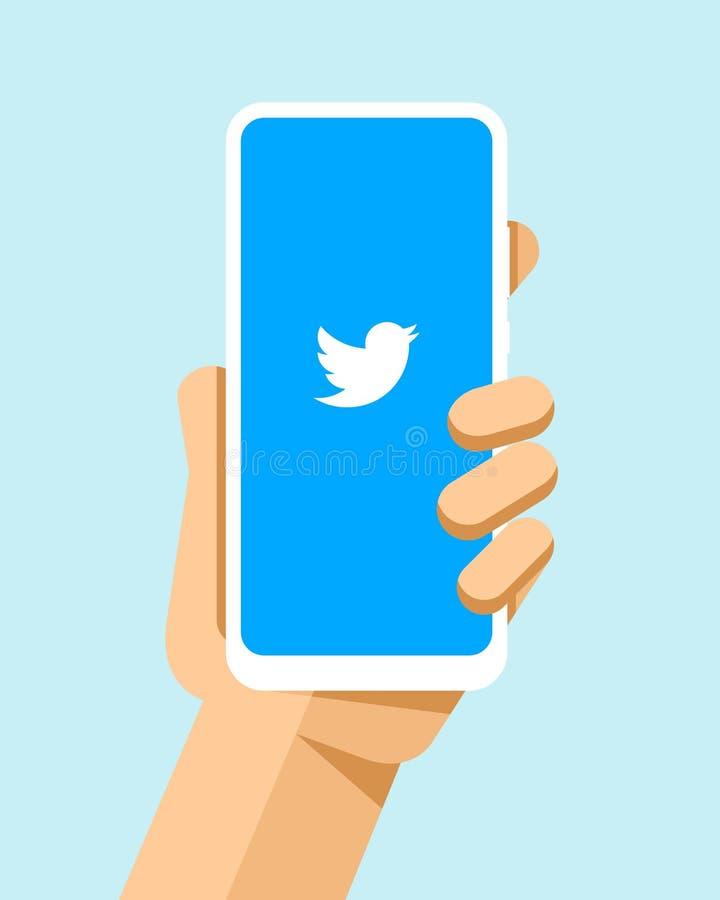 Handen rymmer smartphonen med den Twitter applikationen på skärmen För telefonmodell för plan vektor modern illustration royaltyfri illustrationer