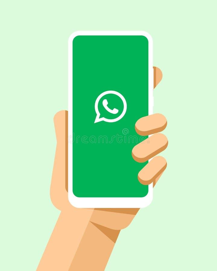Handen rymmer smartphonen med den WhatsApp applikationen på skärmen För telefonmodell för plan vektor modern illustration vektor illustrationer