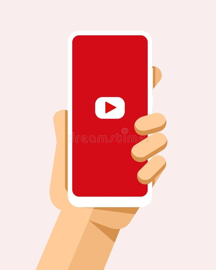Handen rymmer smartphonen med den YouTube applikationen på skärmen För telefonmodell för plan vektor modern illustration royaltyfri illustrationer