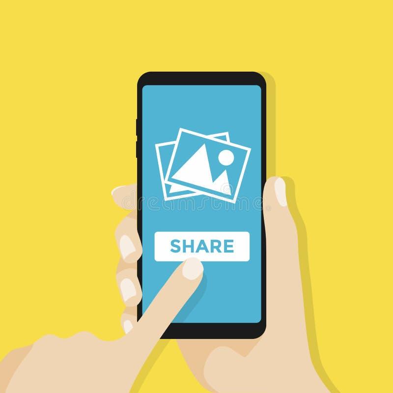 Handen rymmer smartphonen med fotosymbolen på smartphoneskärmen Multimedia begrepp för app för aktiefotoalbum stock illustrationer