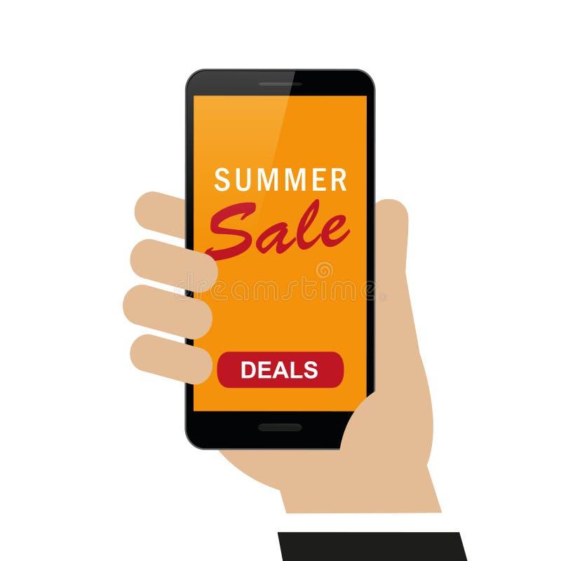 Handen rymmer smartphonen med sommarförsäljningsavtal som shoppar begrepp vektor illustrationer