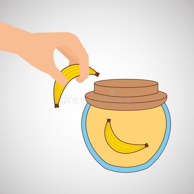 Handen sätter banankrusdriftstopp stock illustrationer
