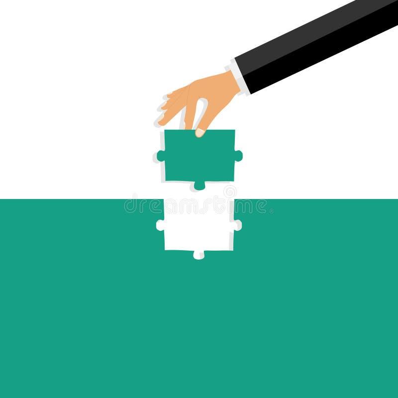 Handen sätter in ett pussel En hand med ett pussel sätter det in in i hålet vektor illustrationer