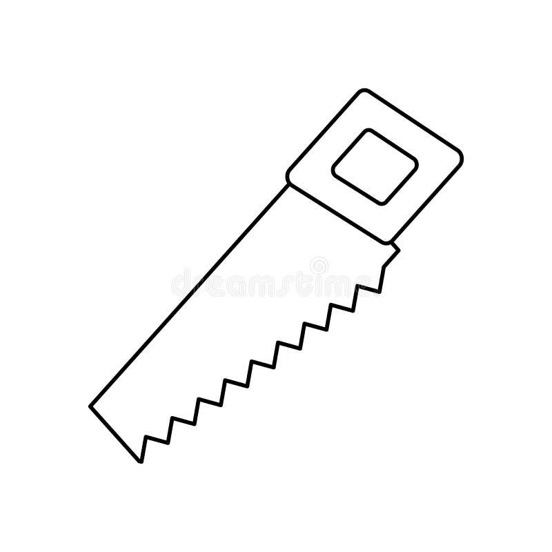 Handen såg linjen symbol stock illustrationer