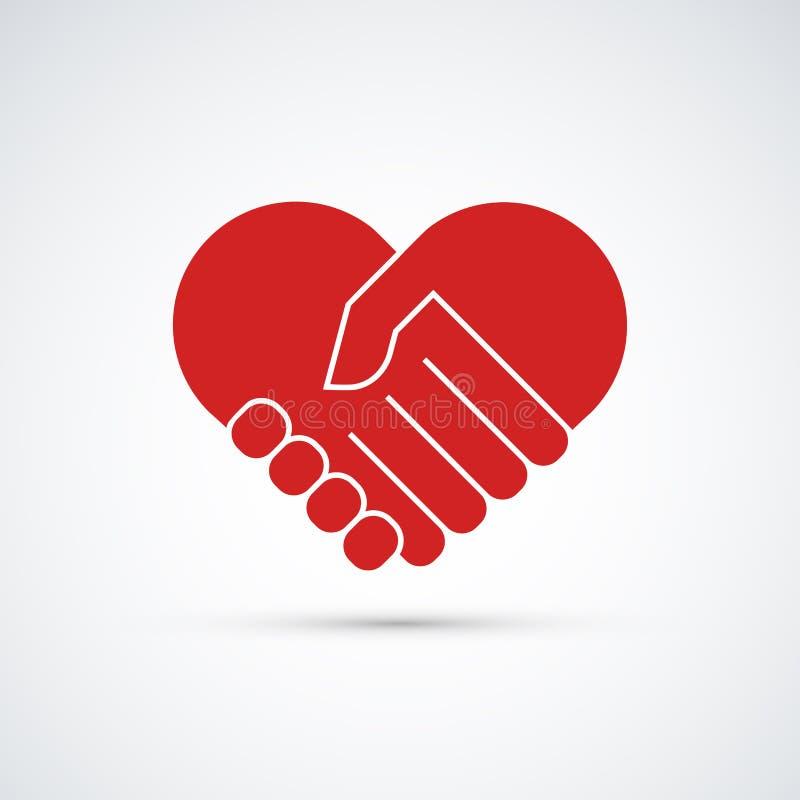 Handen samen De illustratie van het hartsymbool stock illustratie