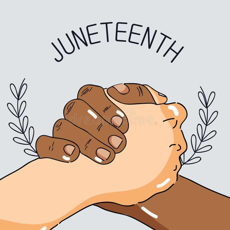 Handen samen om vrijheidsdag te vieren royalty-vrije illustratie