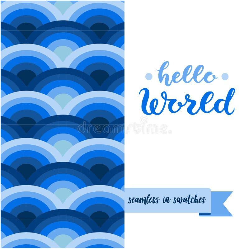 Handen skissade affischen för bokstäver för Hello världstypografi vektor illustrationer