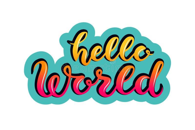 Handen skissade affischen för bokstäver för Hello världstypografi royaltyfri illustrationer