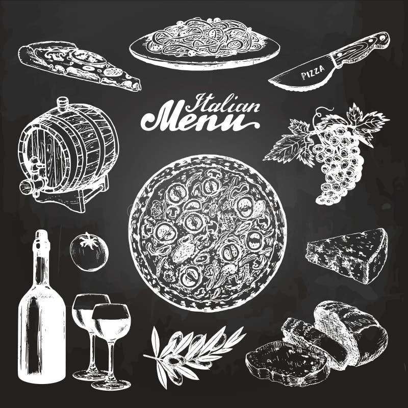 Handen skissade den italienska menyn Skissar medelhavs- kokkonstmat för vektorn på den svart tavlan Illustrationer för kafét, stå stock illustrationer