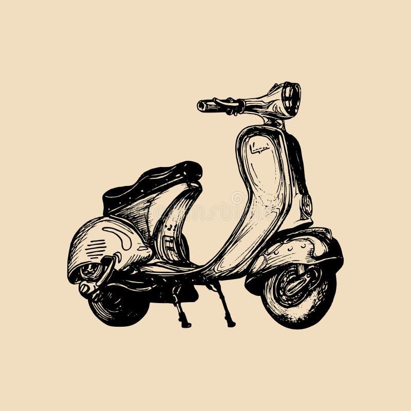 Handen skissade sparkcykeln Illustration för motorroller för vektortappning retro för affischen, banret, kortet etc. vektor illustrationer