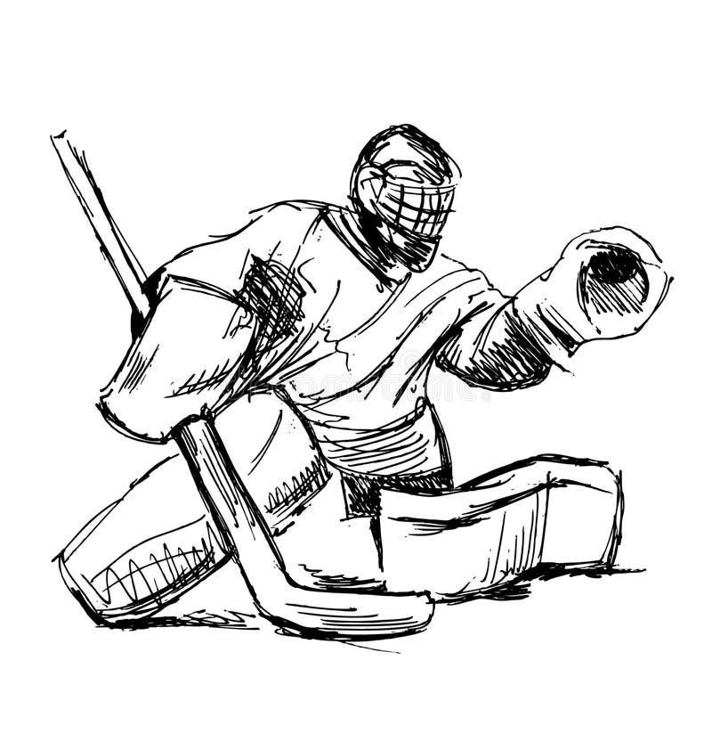 Handen skissar hockeygoalien vektor illustrationer
