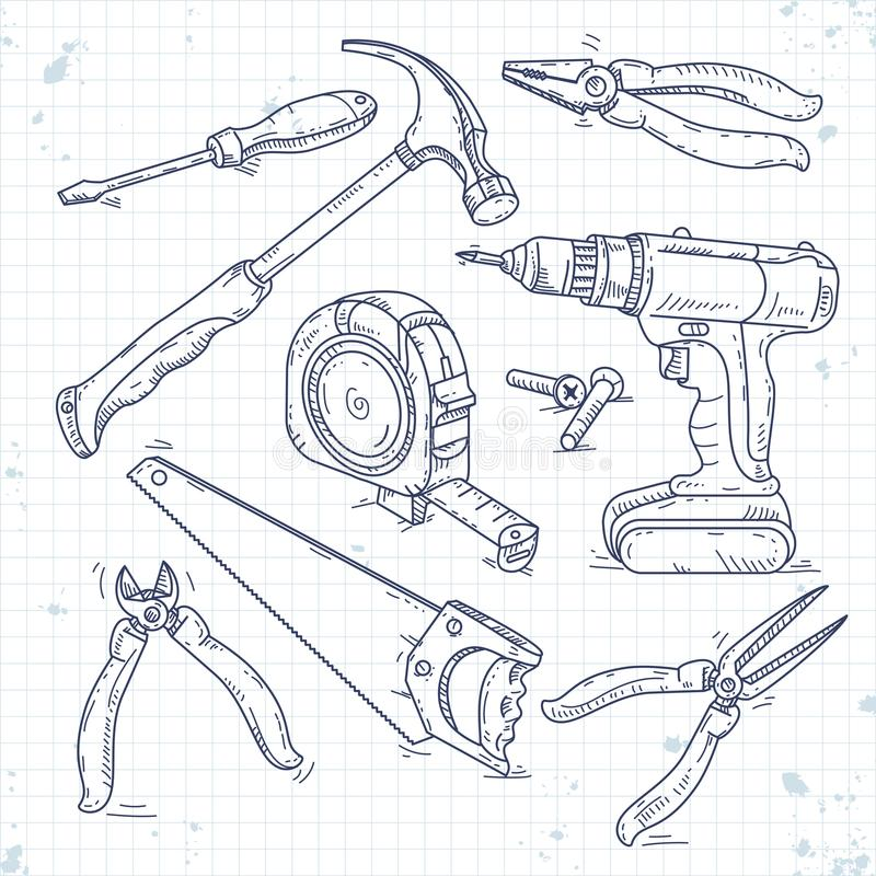Handen skissar symbolsuppsättningen av snickerihjälpmedel, en såg, plattång, skruvmejseln och måttbandet stock illustrationer