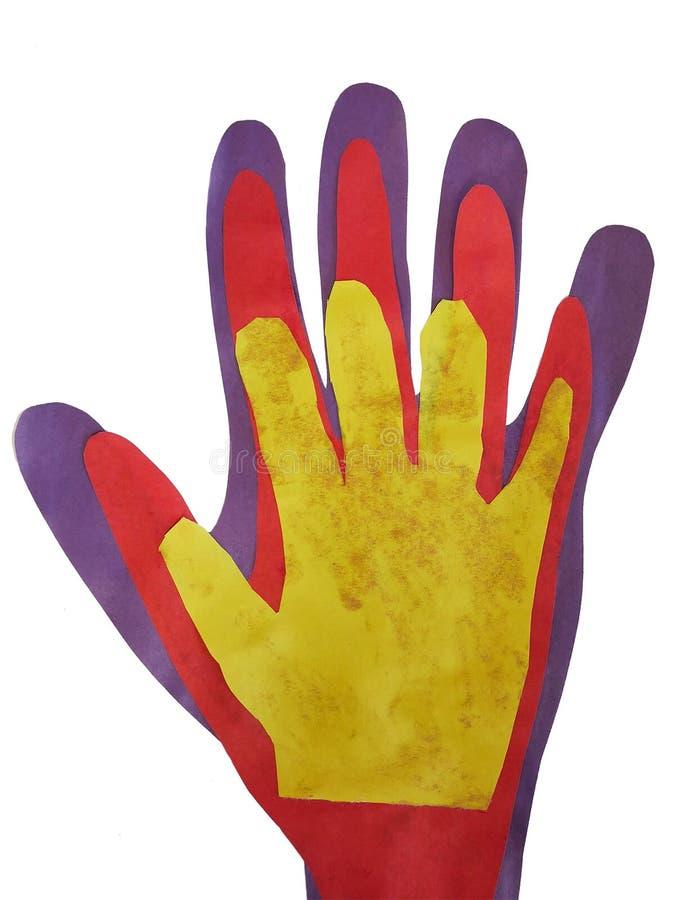 Handen sned från pappersfadern, modern, barn royaltyfri fotografi