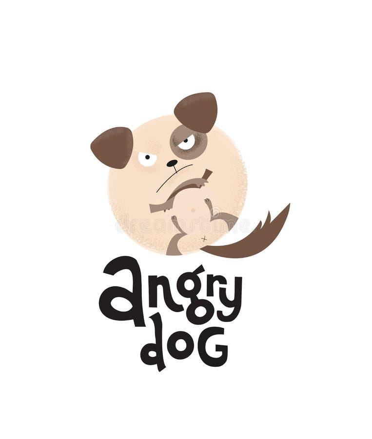 Handen som den utdragna rynka pannan runda valpen är, tafsar upp med att märka den ilskna hunden för citationstecknet Modern plan royaltyfri illustrationer
