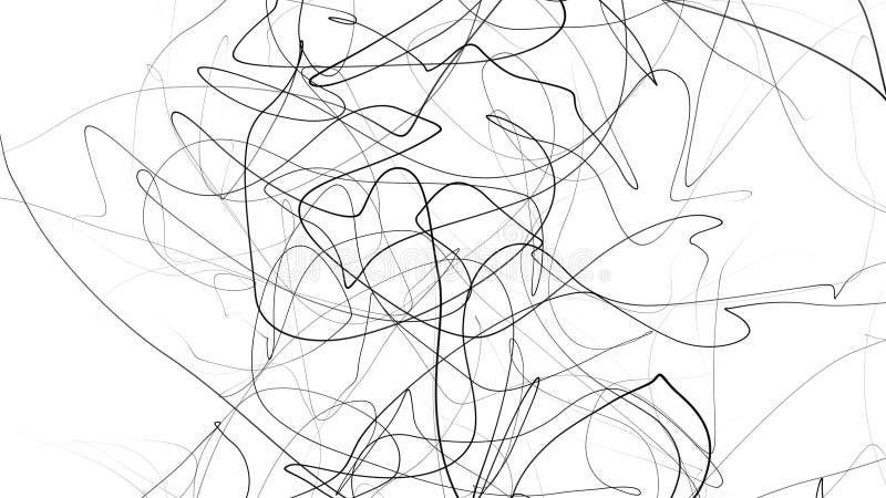 Handen som drar klotter, skissar Abstrakt begrepp klottrar, kaos klottrar linjer som isoleras på vit bakgrund abstrakt illustrati royaltyfri illustrationer