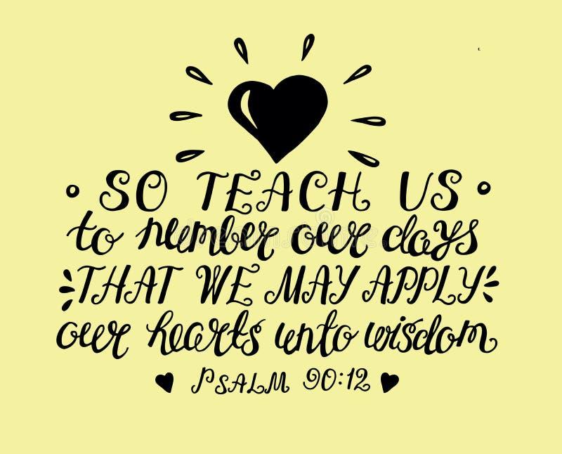 Handen som märker bönen av Moses så, undervisar oss att räkna dagar för att vinna en hjärta av vishet vektor illustrationer