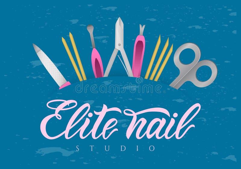 Handen som märker elit, spikar studion med hjälpmedel rengöringsduk för jordklotlogovektor Modern kalligrafi royaltyfri illustrationer